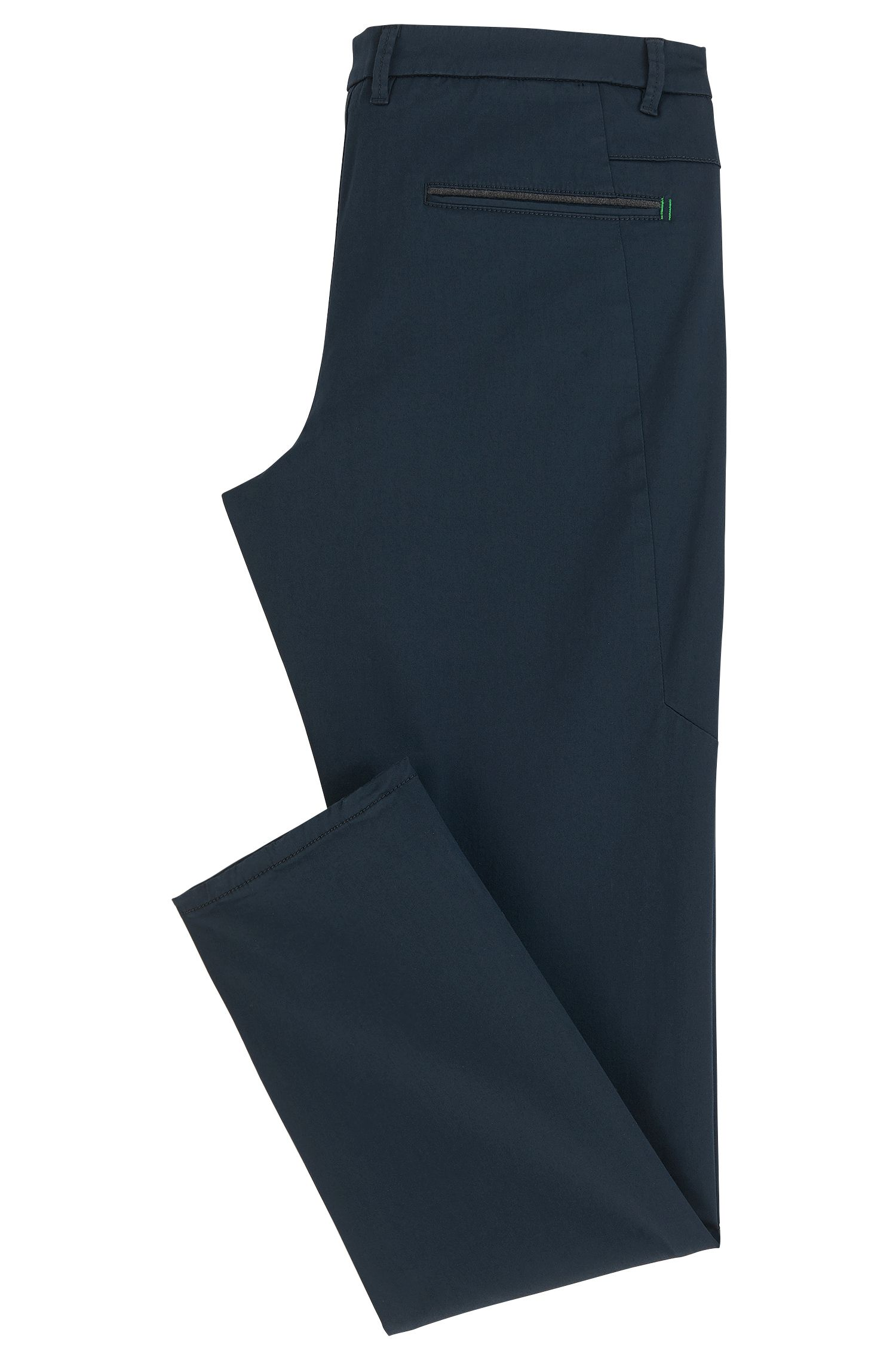 Regular-Fit Chino aus elastischem Baumwoll-Mix mit Satin-Finish, Dunkelblau