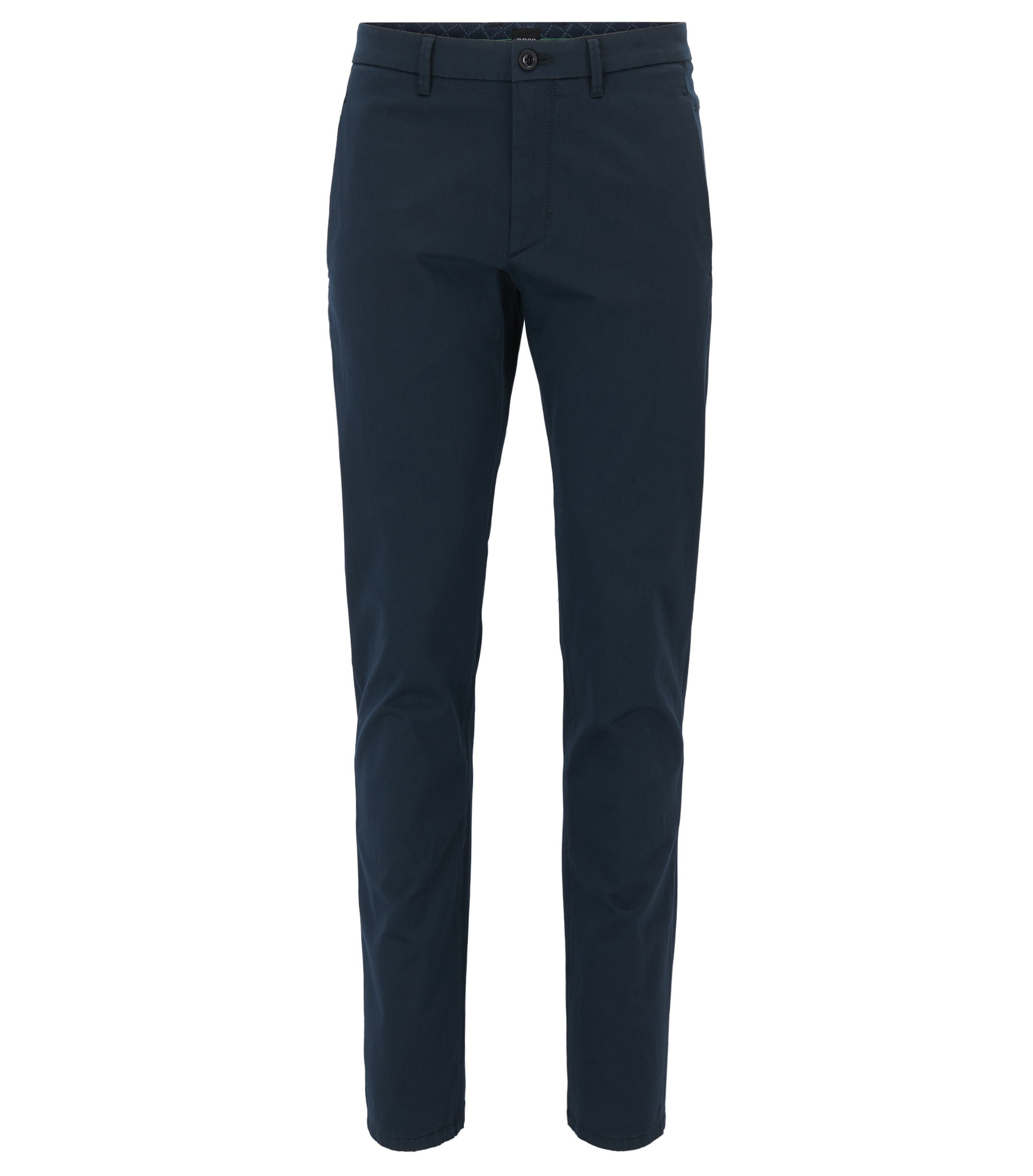 Chino Regular Fit stretch à la finition satinée, Bleu foncé