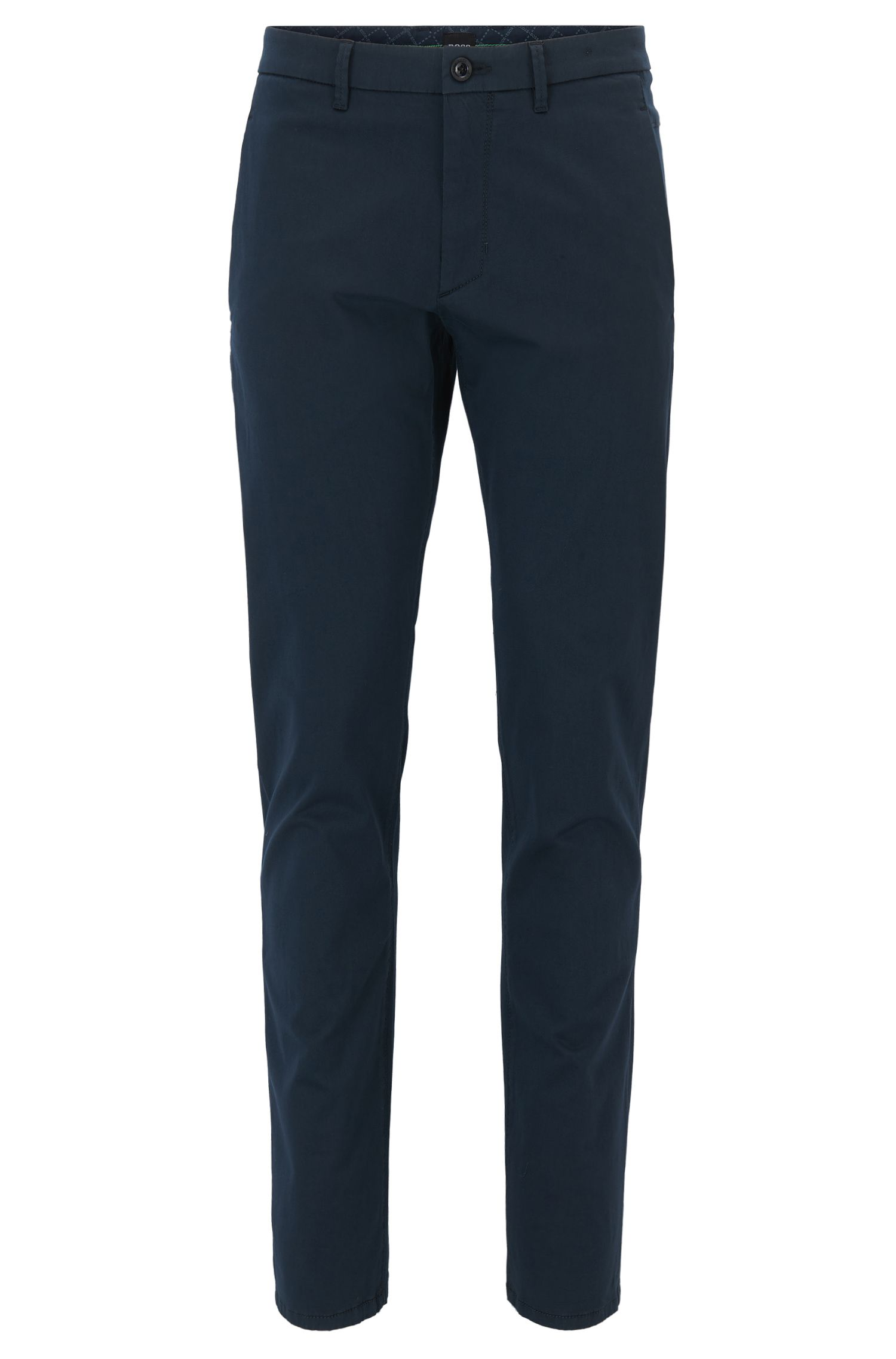 Regular-Fit Chino aus elastischem Baumwoll-Mix mit Satin-Finish