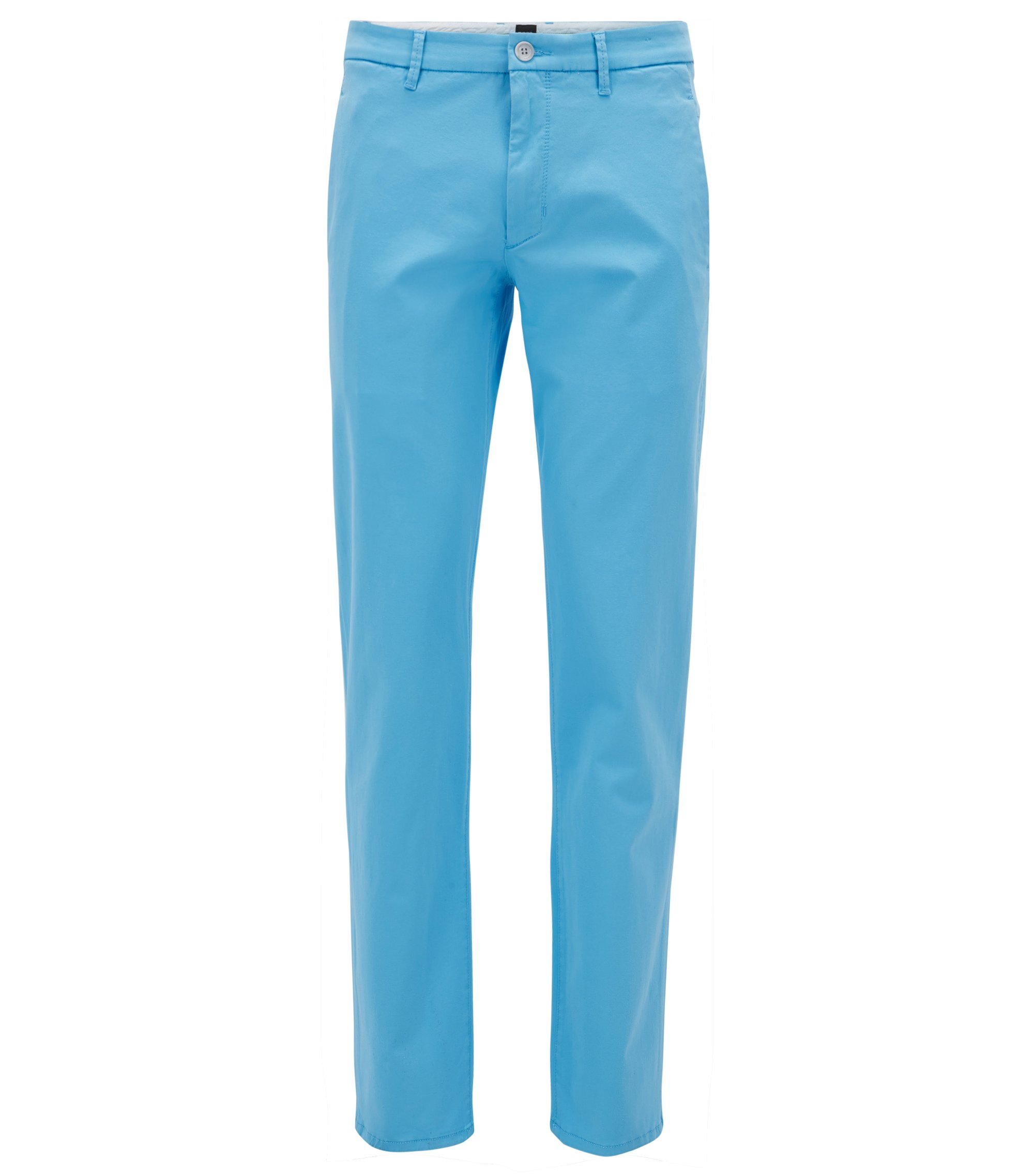 Regular-fit stretch chinos with satin finish, Light Blue