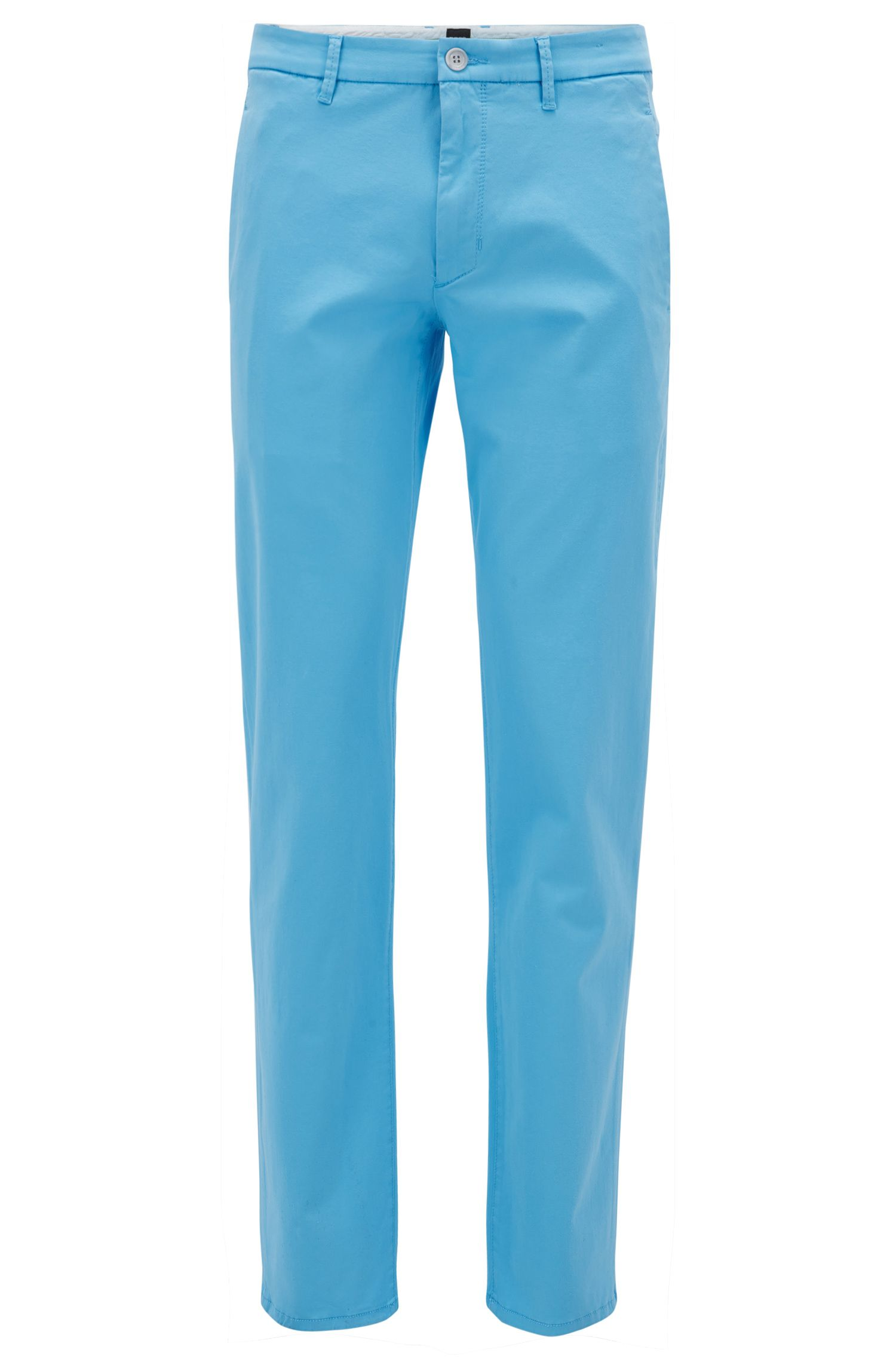 Chino elasticizzati regular fit con finitura in satin
