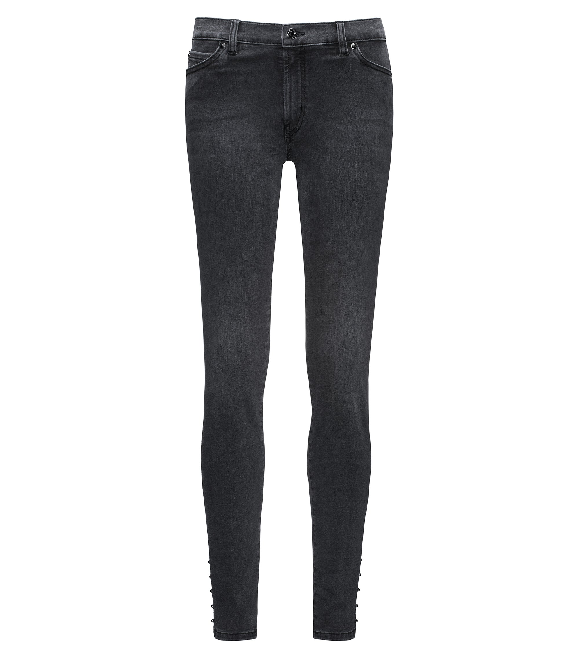 Super-stretch extra-slim-fit jeans with biker details, Dark Grey