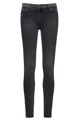 Super-stretch extra-slim-fit jeans with biker details HUGO BOSS Sale Affordable Cheap Reliable Amazon Sale Online Amazing Price I6g6hzB