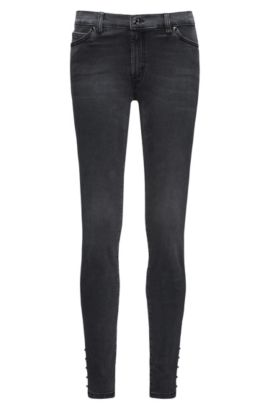 Extra Slim-Fit Jeans aus Super Stretch Denim mit Biker-Details, Dunkelgrau