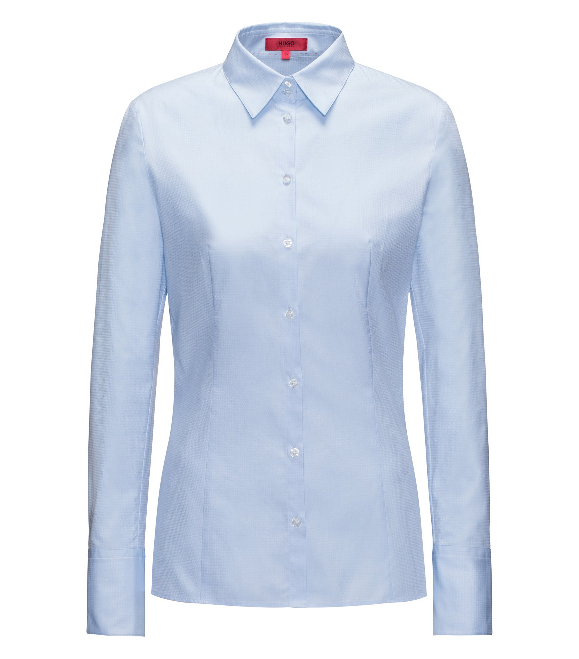 Slim-fit blouse in houndstooth cotton, Light Blue
