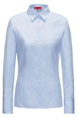 Blusa slim fit de algodón con diseño de pata de gallo, Celeste