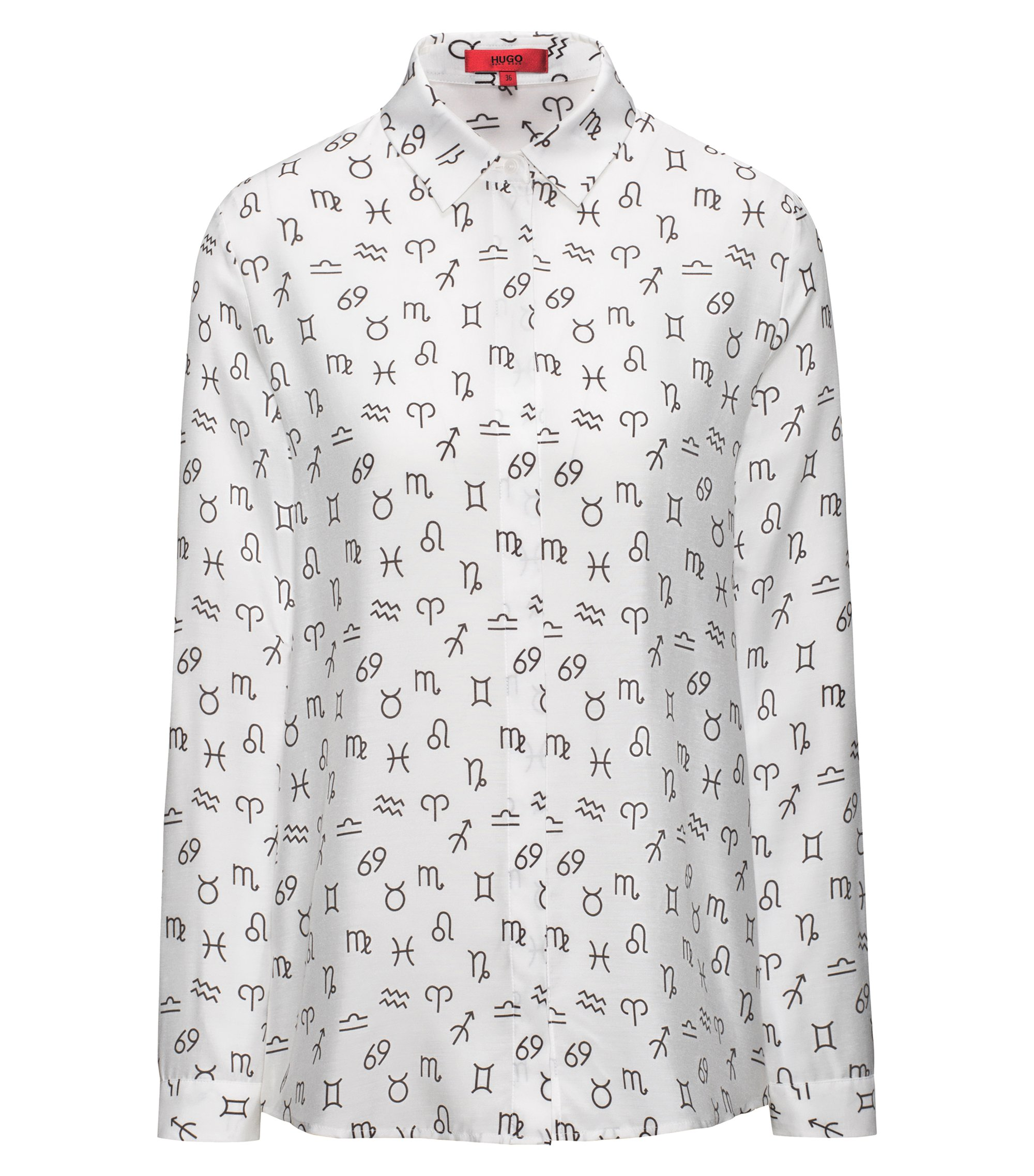 Zodiac-symbol soft shirt in a relaxed fit, Patterned
