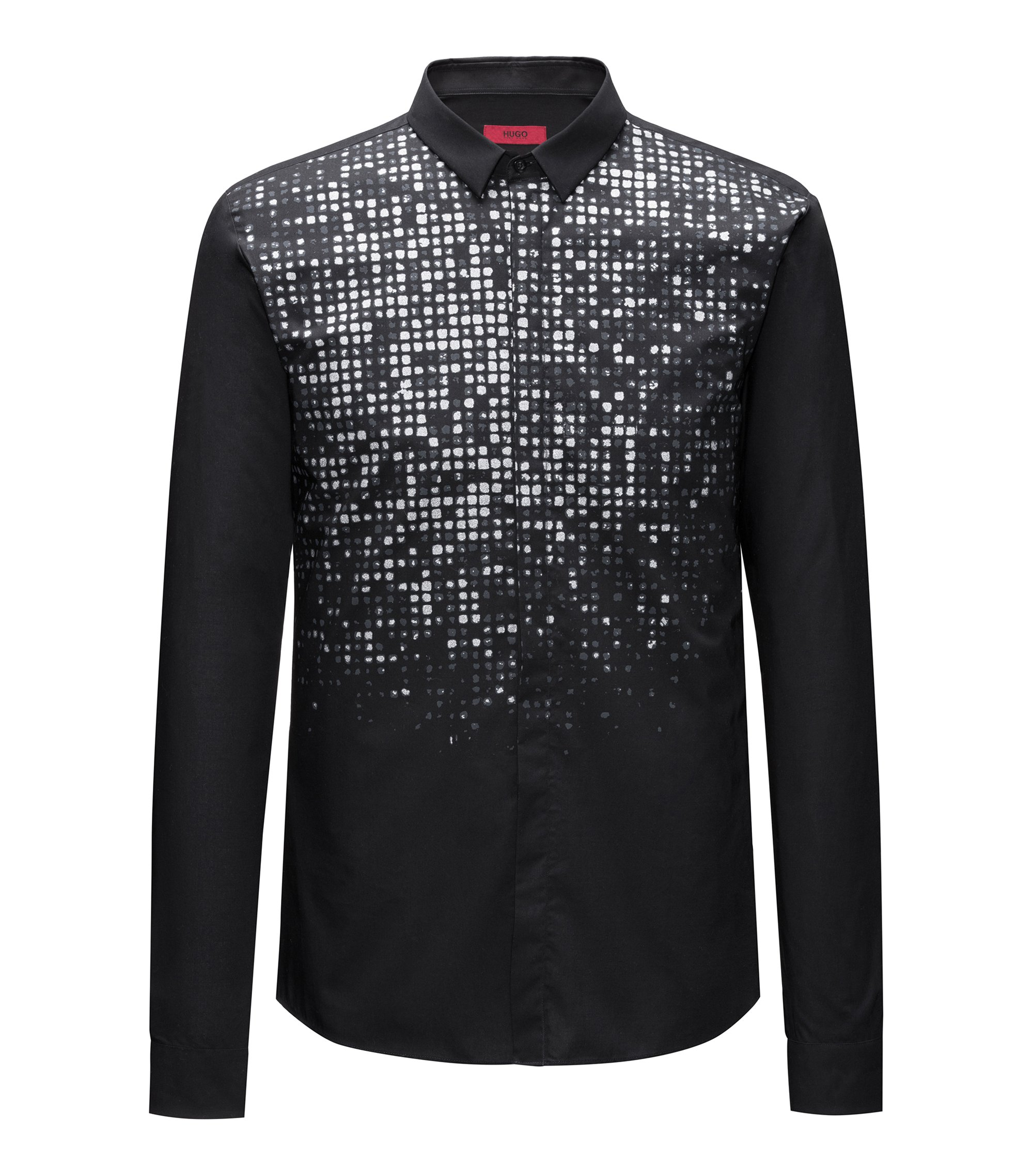 Slim-fit cotton shirt with glitter-effect dégradé print, Black