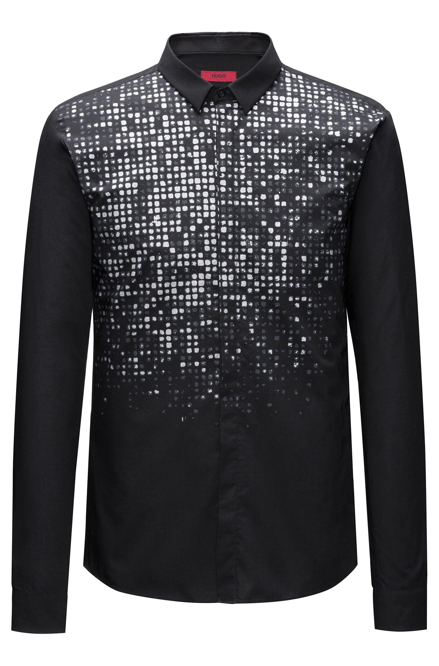 Slim-fit overhemd van katoen met dégradéprint met glittereffect