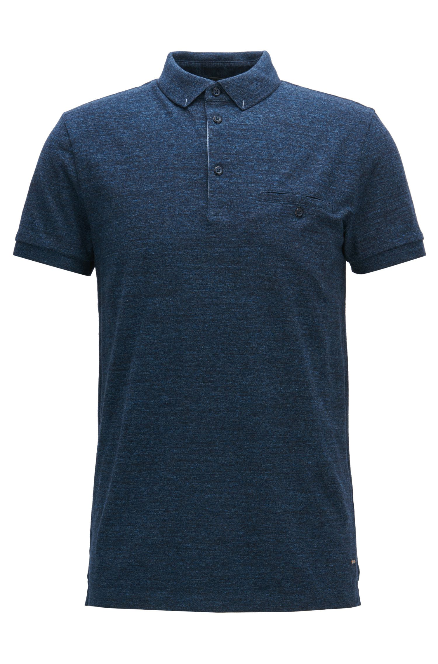 Regular-fit polo shirt in heathered cotton jersey