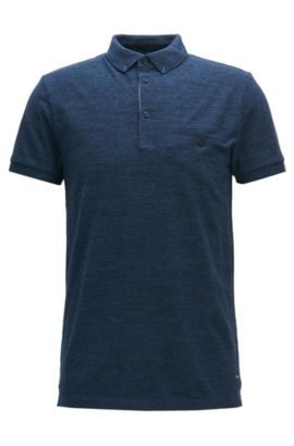 Polo Regular Fit en jersey de coton chiné, Bleu foncé