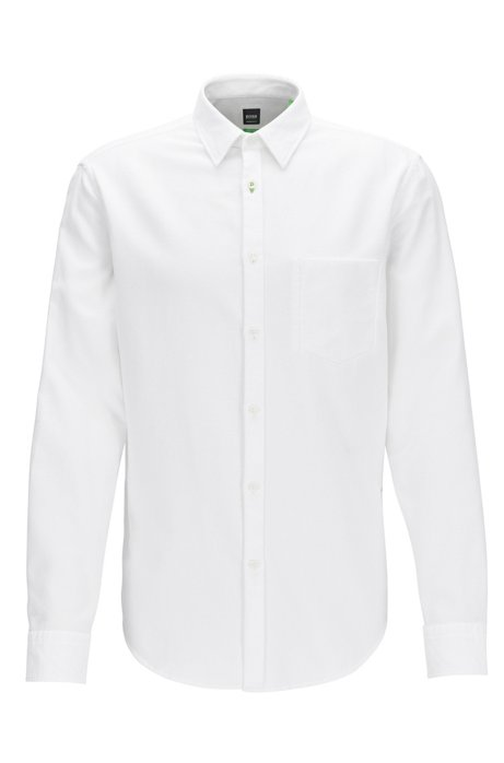 Cheap Best Store To Get Recommend For Sale Regular-fit washed cotton shirt with dobby contrasts BOSS xeY2HnmoZr