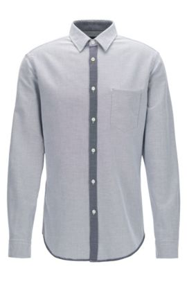Regular-fit shirt in dobby cotton, Blue