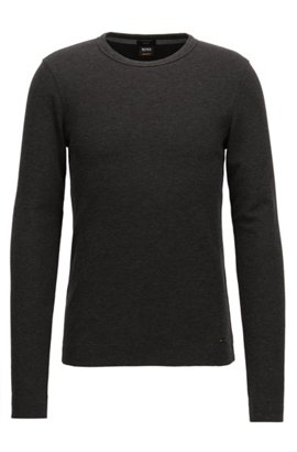 Slim-fit long-sleeved T-shirt in heathered cotton, Black