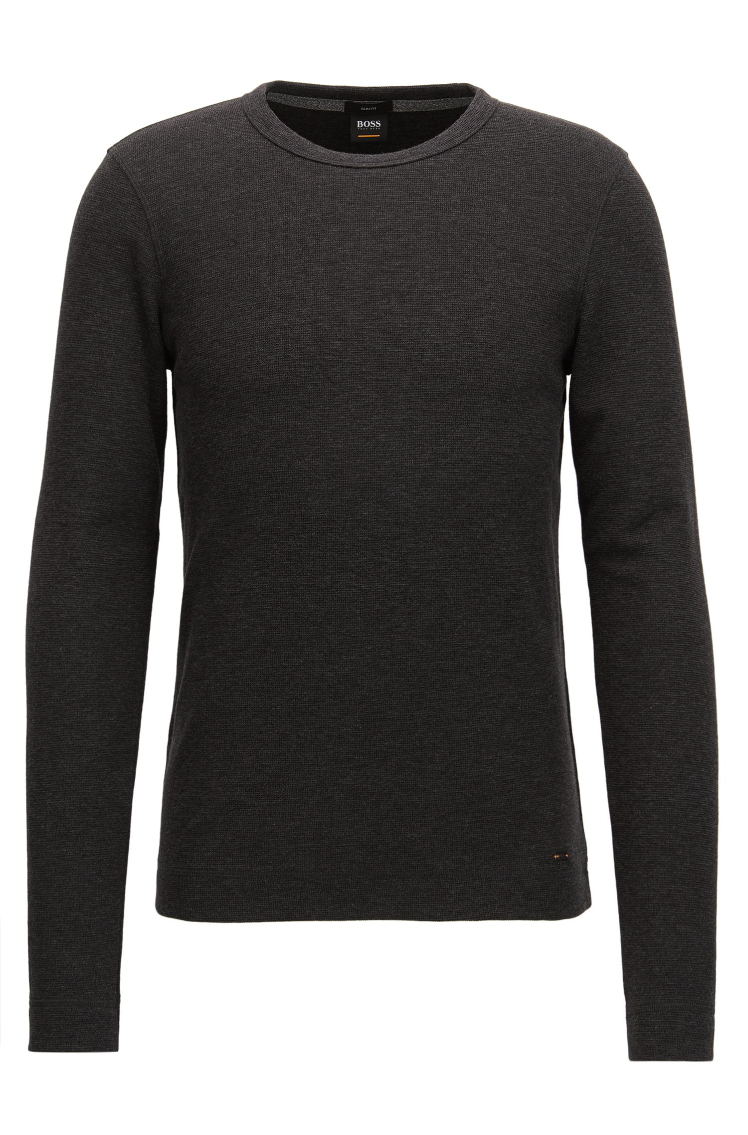 Slim-fit long-sleeved T-shirt in heathered cotton