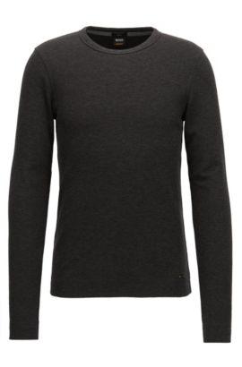 Slim-fit T-shirt van gemêleerde katoen met lange mouwen, Zwart