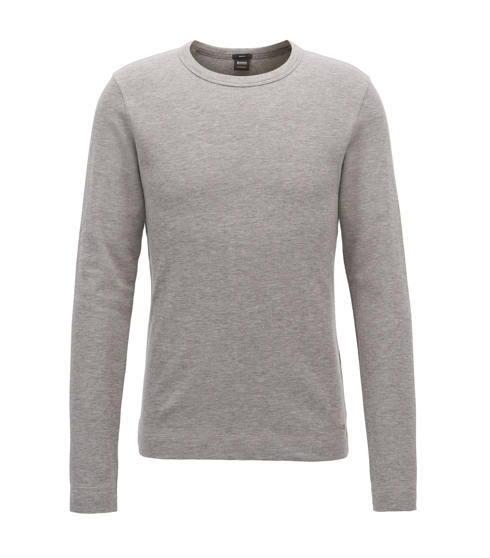 Slim-fit long-sleeved T-shirt in heathered cotton, Light Grey
