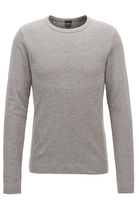 T-shirt Slim Fit à manches longues en coton chiné, Gris chiné