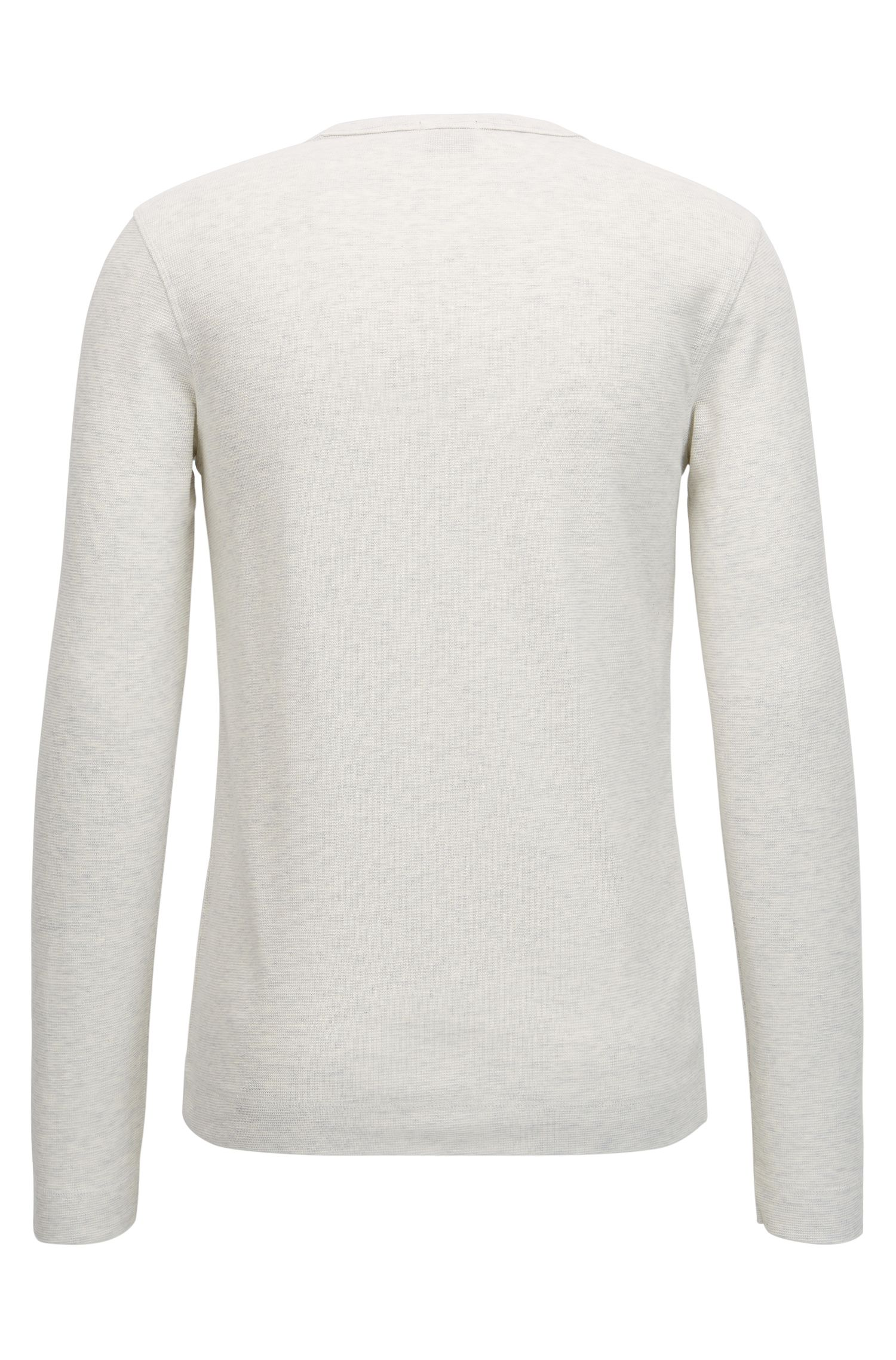 Slim-fit long-sleeved T-shirt in heathered cotton, Natural