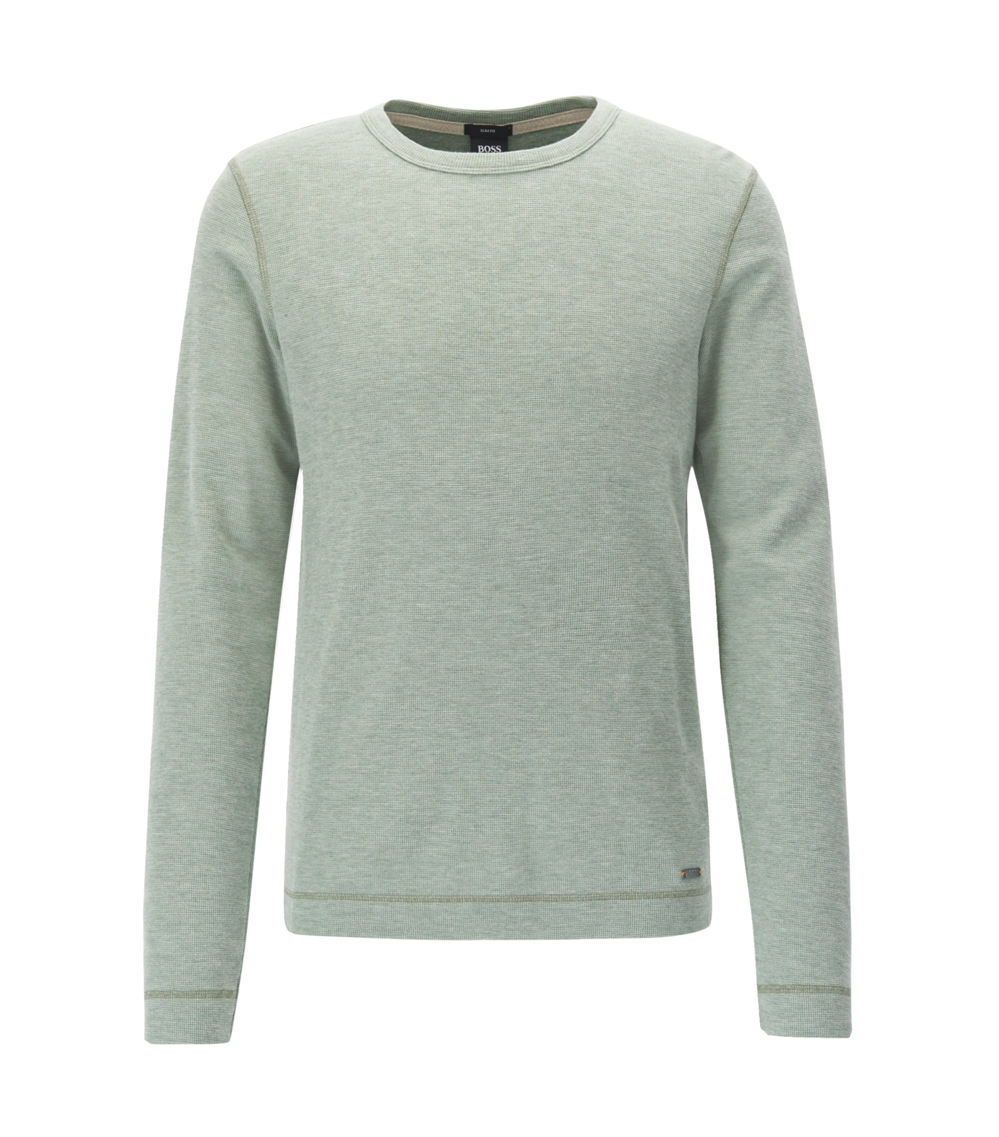 Slim-fit long-sleeved T-shirt in heathered cotton, Light Green