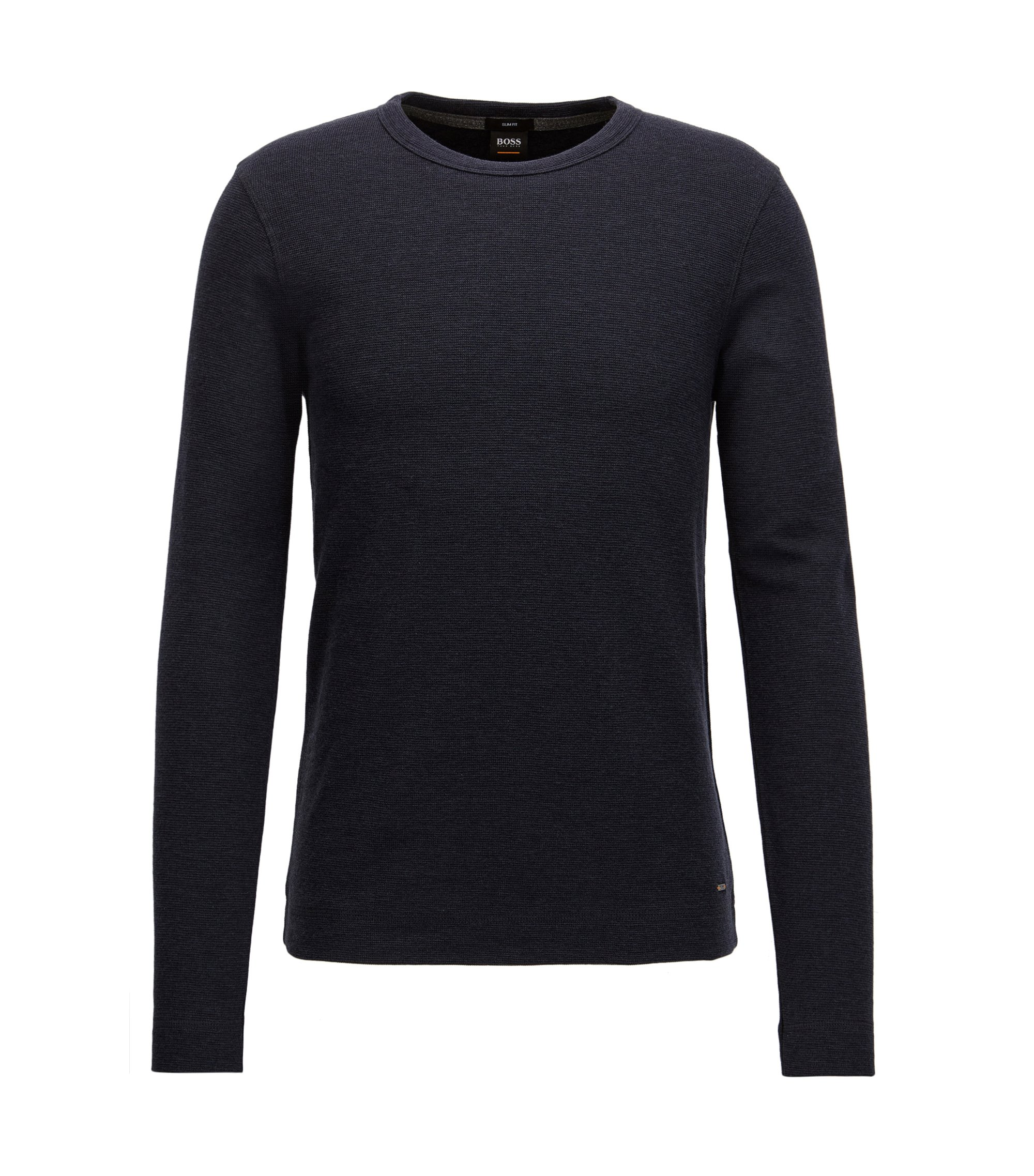Slim-fit long-sleeved T-shirt in heathered cotton, Dark Blue