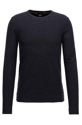 T-shirt Slim Fit à manches longues en coton chiné, Bleu foncé