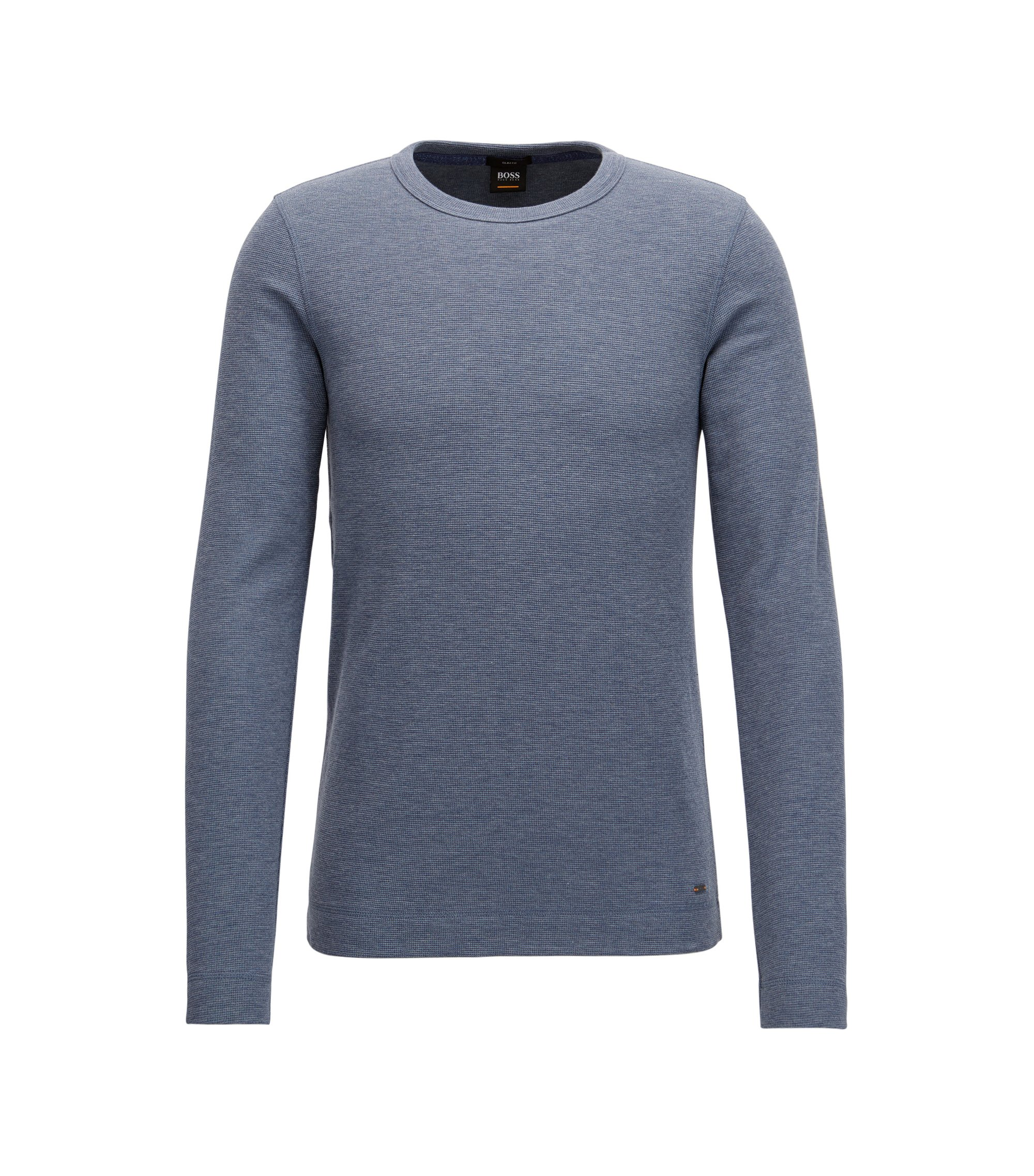 Slim-fit long-sleeved T-shirt in heathered cotton BOSS