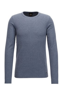 Slim-fit long-sleeved T-shirt in heathered cotton BOSS Shopping Online Free Shipping Footlocker Finishline For Sale 100% Authentic Cheap Price FWoAa