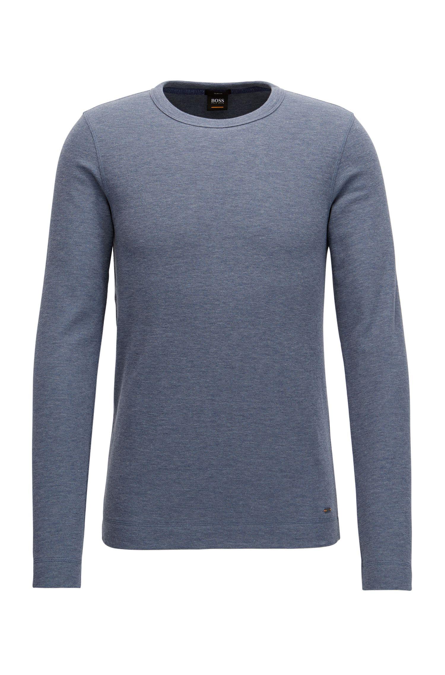 Slim-fit T-shirt van gemêleerde katoen met lange mouwen