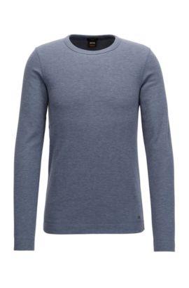 Camiseta de manga larga slim fit en algodón jaspeado, Azul oscuro