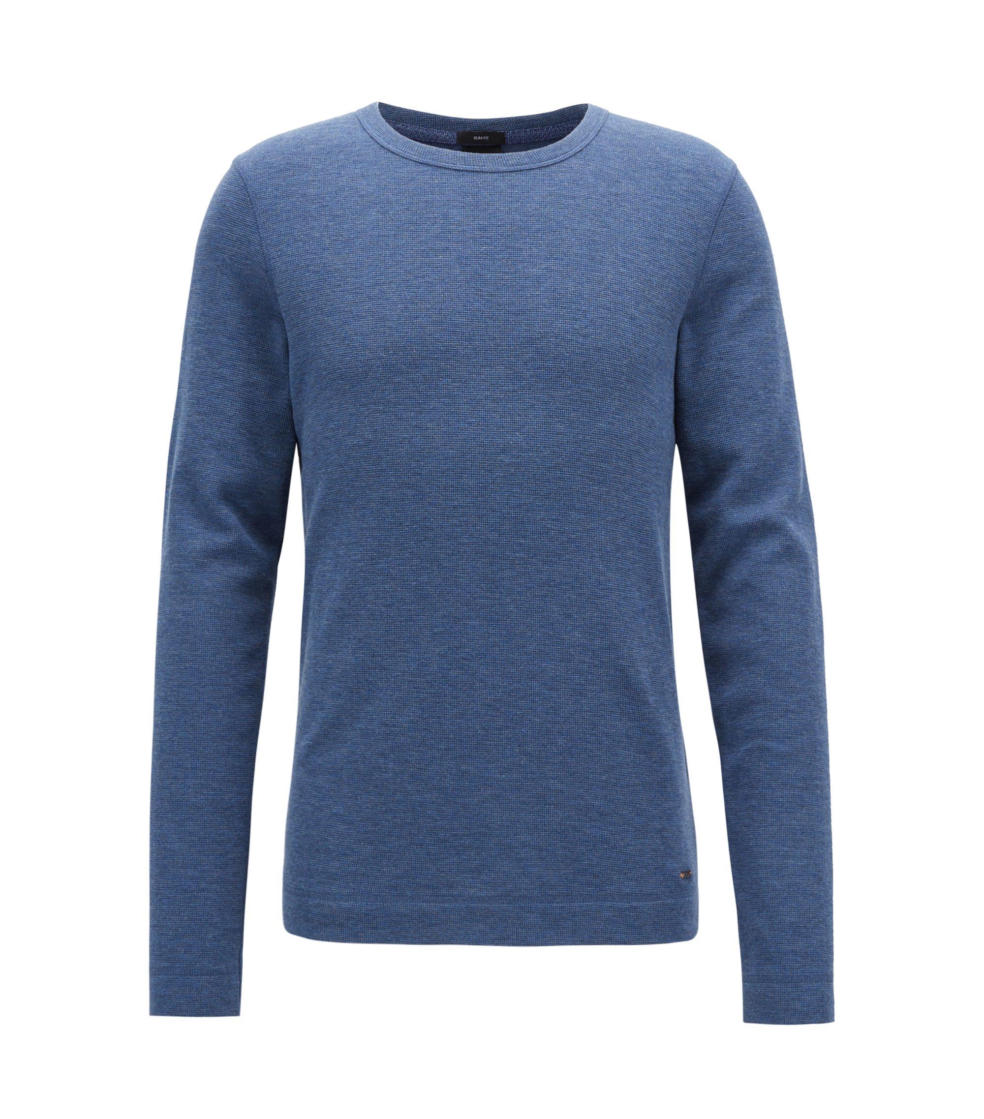 Slim-fit T-shirt van gemêleerde katoen met lange mouwen, Blauw