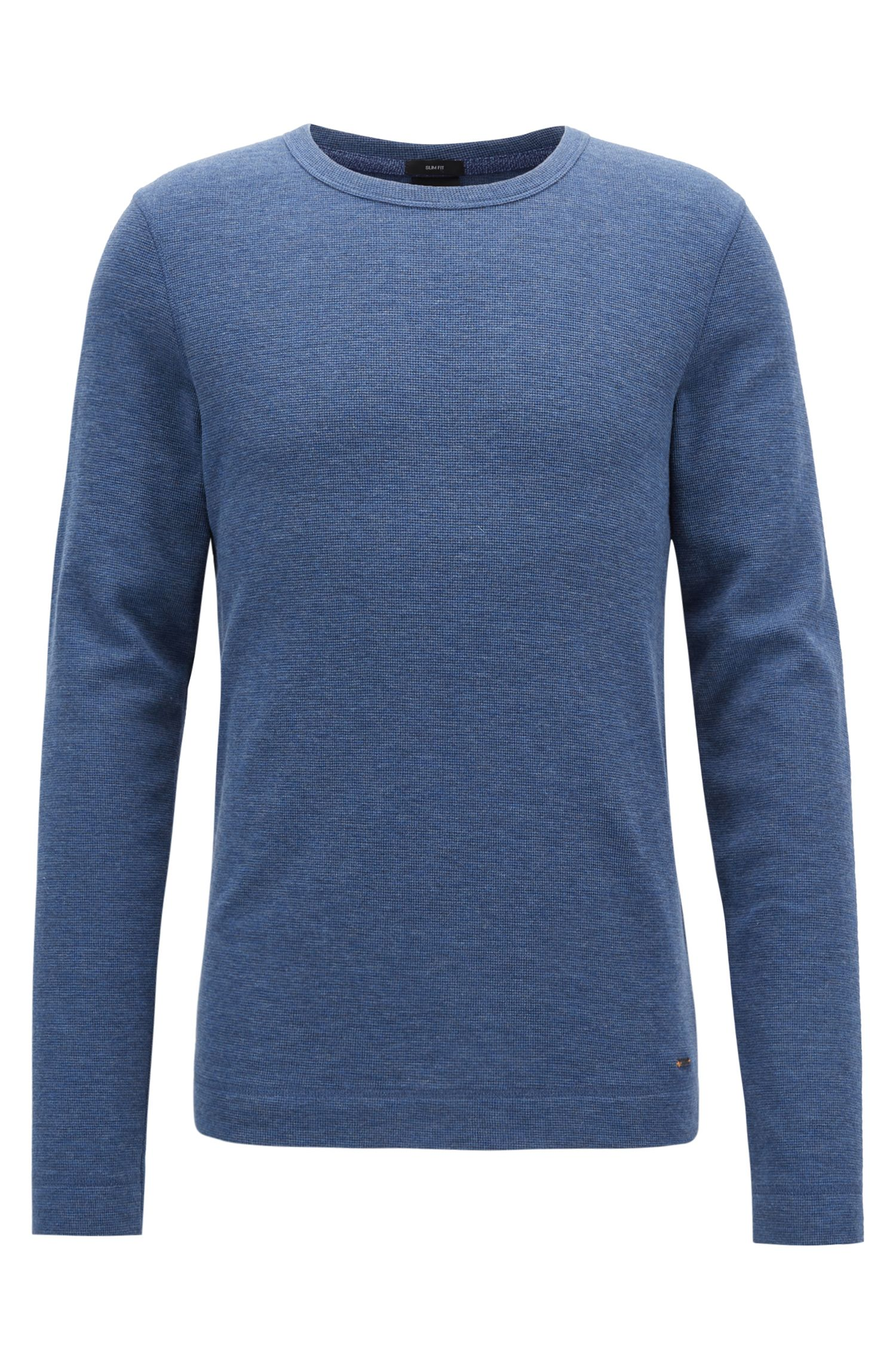 Slim-fit long-sleeved T-shirt in heathered cotton, Blue