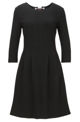Strukturiertes Kleid aus elastischem Material-Mix mit Schleifen-Detail, Schwarz
