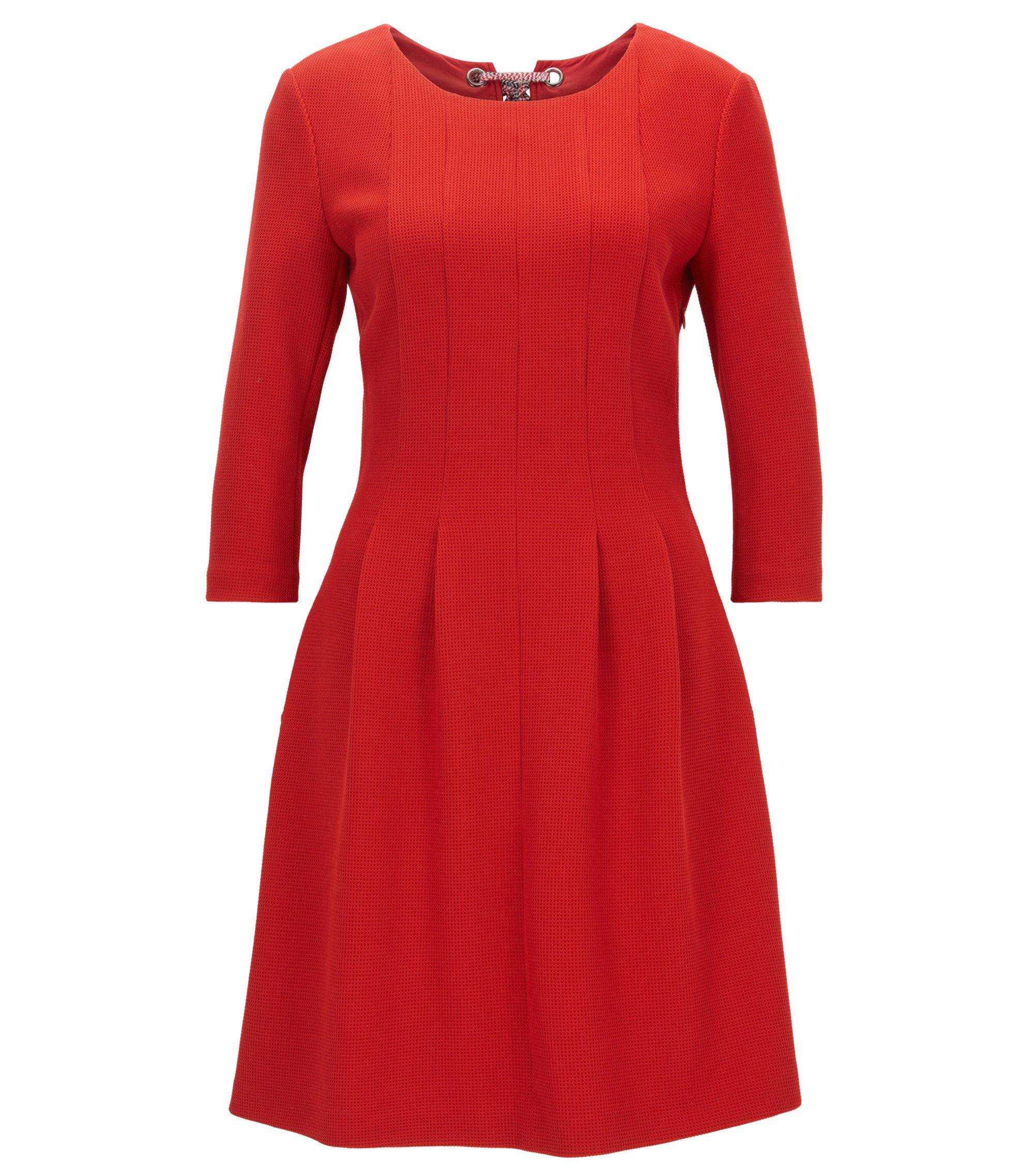 Strukturiertes Kleid aus elastischem Material-Mix mit Schleifen-Detail, Rot