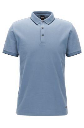Polo Regular Fit en piqué de coton fin, Bleu vif