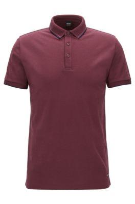 Regular-fit polo shirt in fine cotton piqué, Dark Red