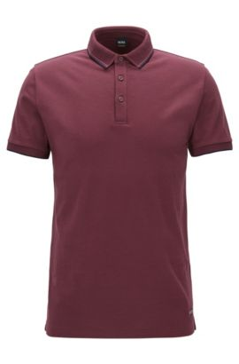 Polo Regular Fit en piqué de coton fin, Rouge sombre