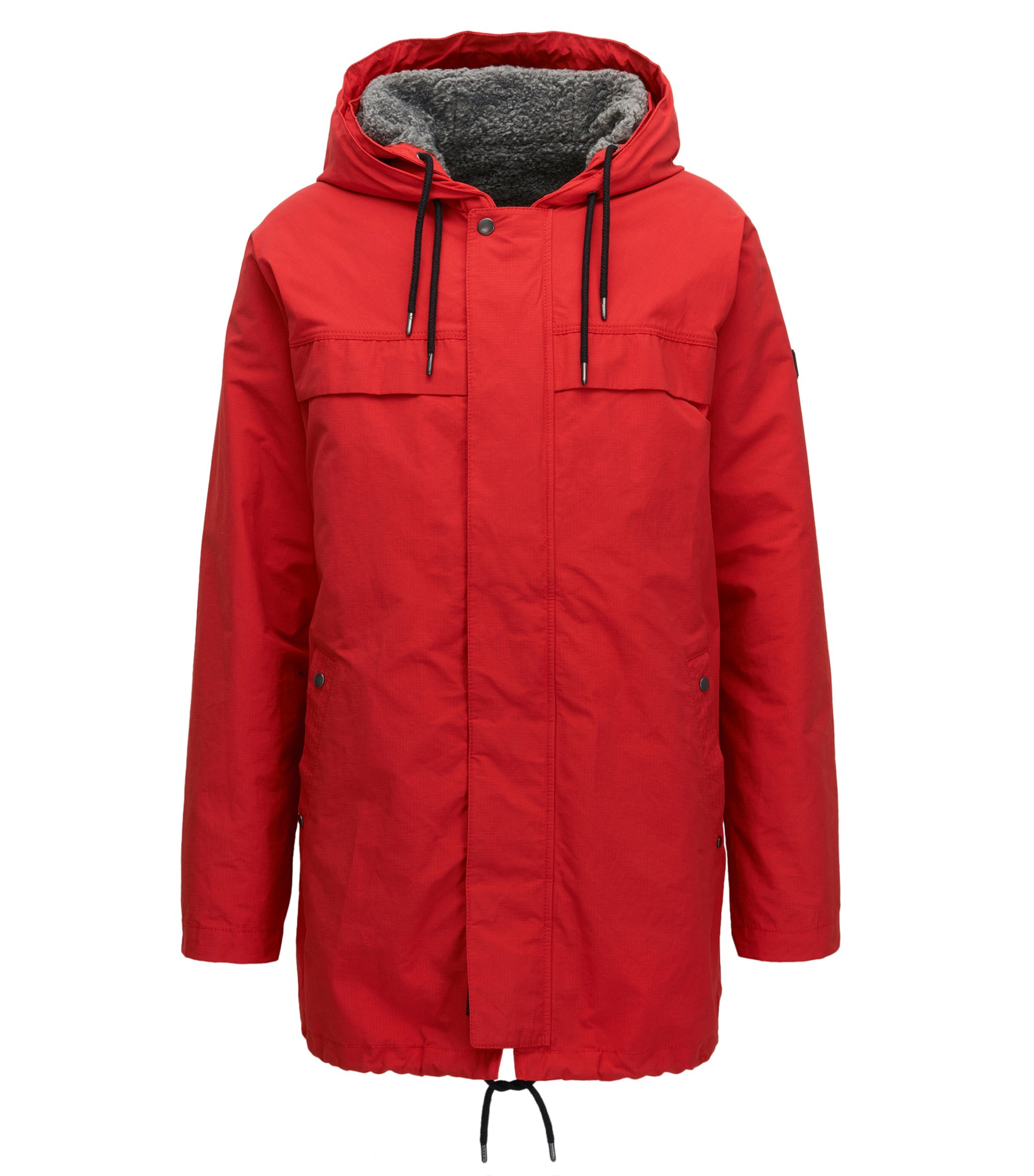 Relaxed-fit jacket in a technical cotton blend, Red
