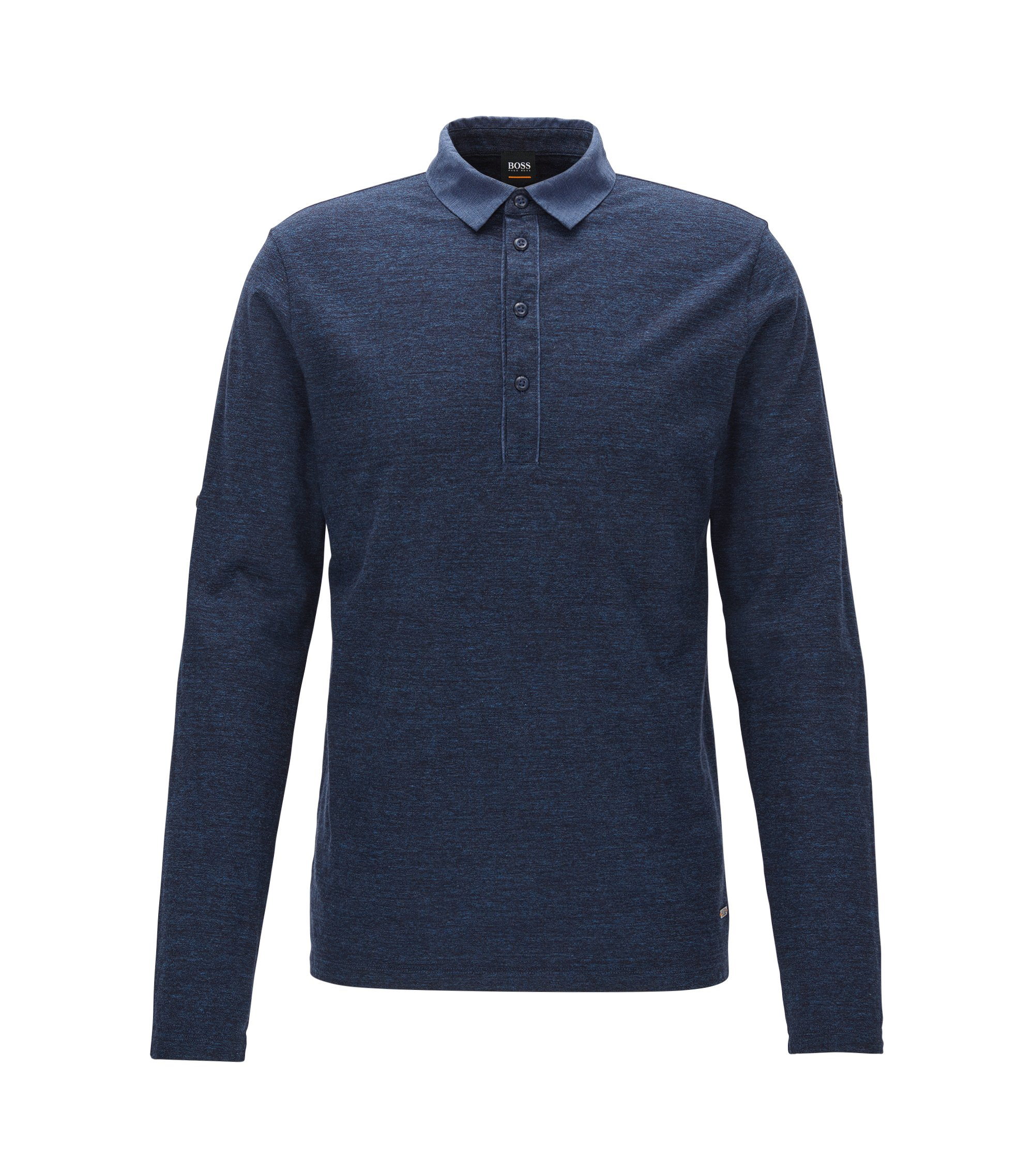 Polo a maniche lunghe regular fit in jersey di cotone mélange, Blu scuro