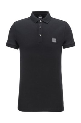 Slim-fit polo shirt in washed piqué with logo patch, Black