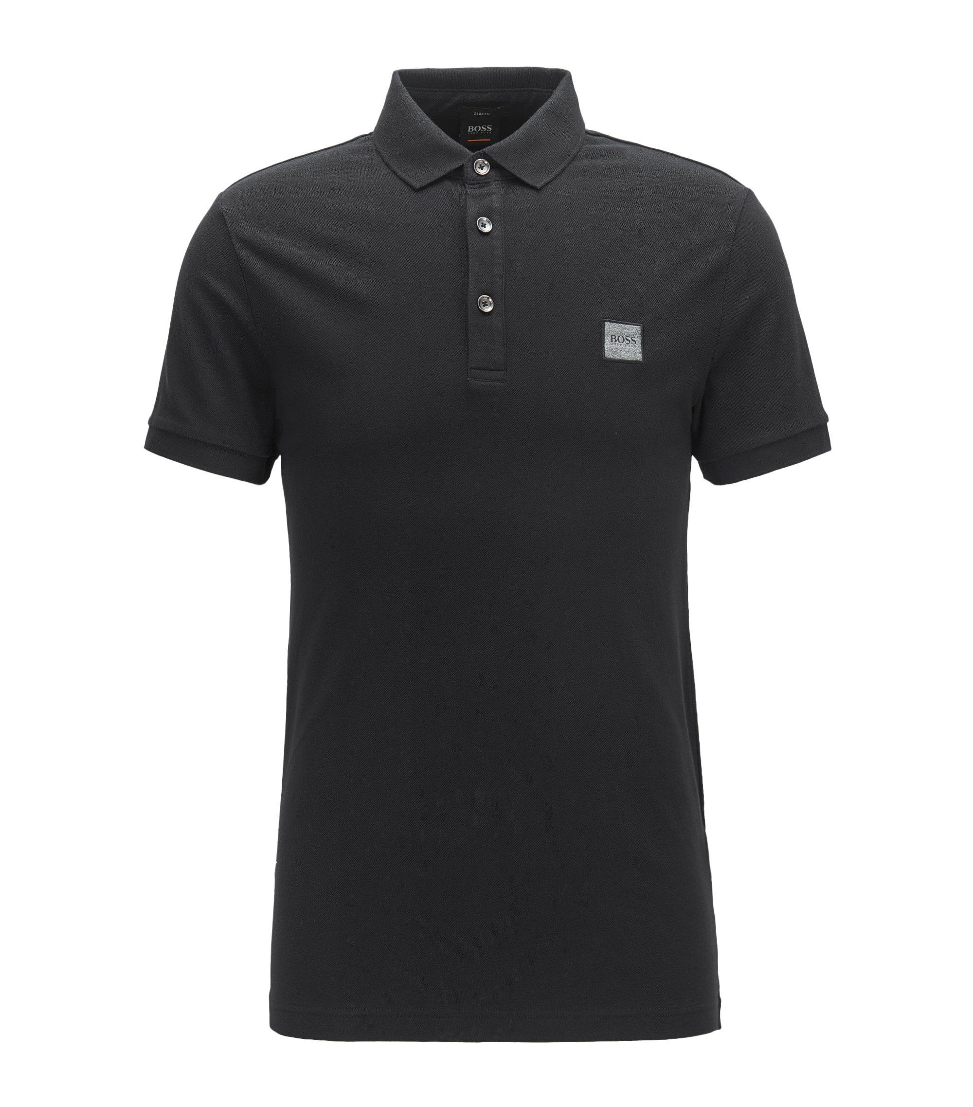 Slim-fit polo van katoenpiqué met stretch, Zwart