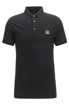 Slim-fit polo shirt in stretch cotton piqué, Black