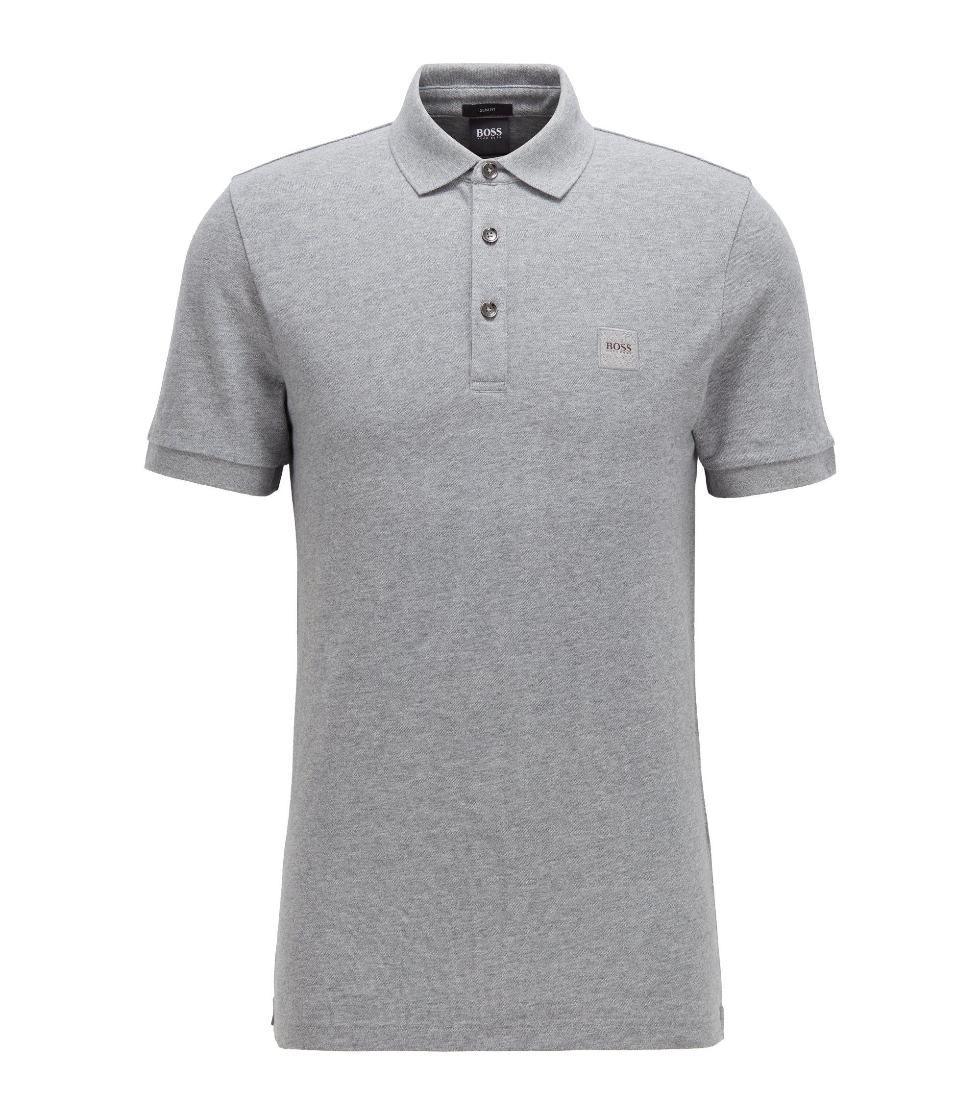 Slim-Fit Poloshirt aus elastischem Baumwoll-Piqué, Hellgrau