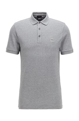 Slim-fit polo shirt in washed piqué with logo patch, Light Grey