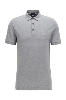 Polo Slim Fit en piqué lavé à patch logo, Gris chiné