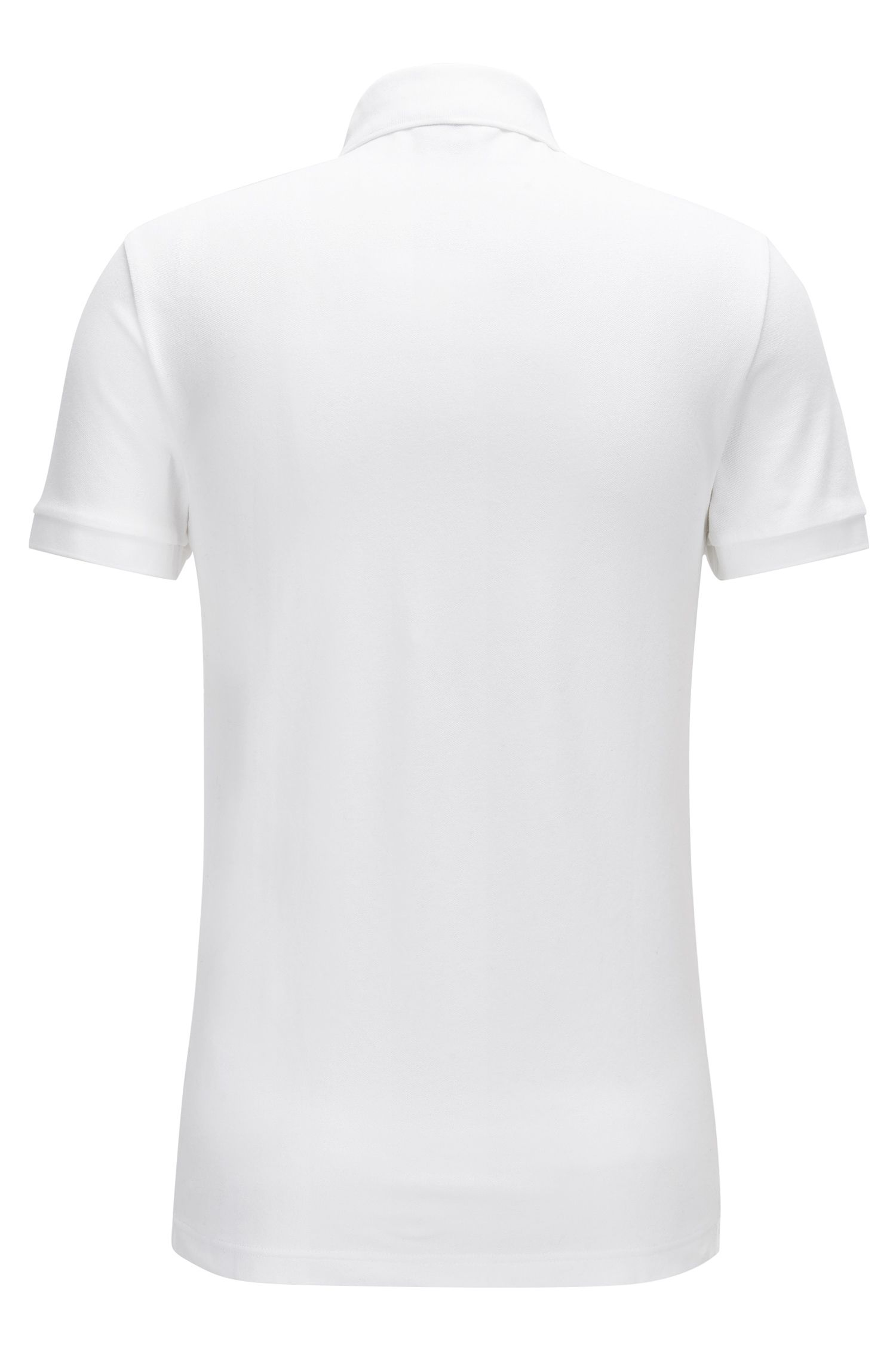 Polo Slim Fit en piqué de coton stretch, Blanc