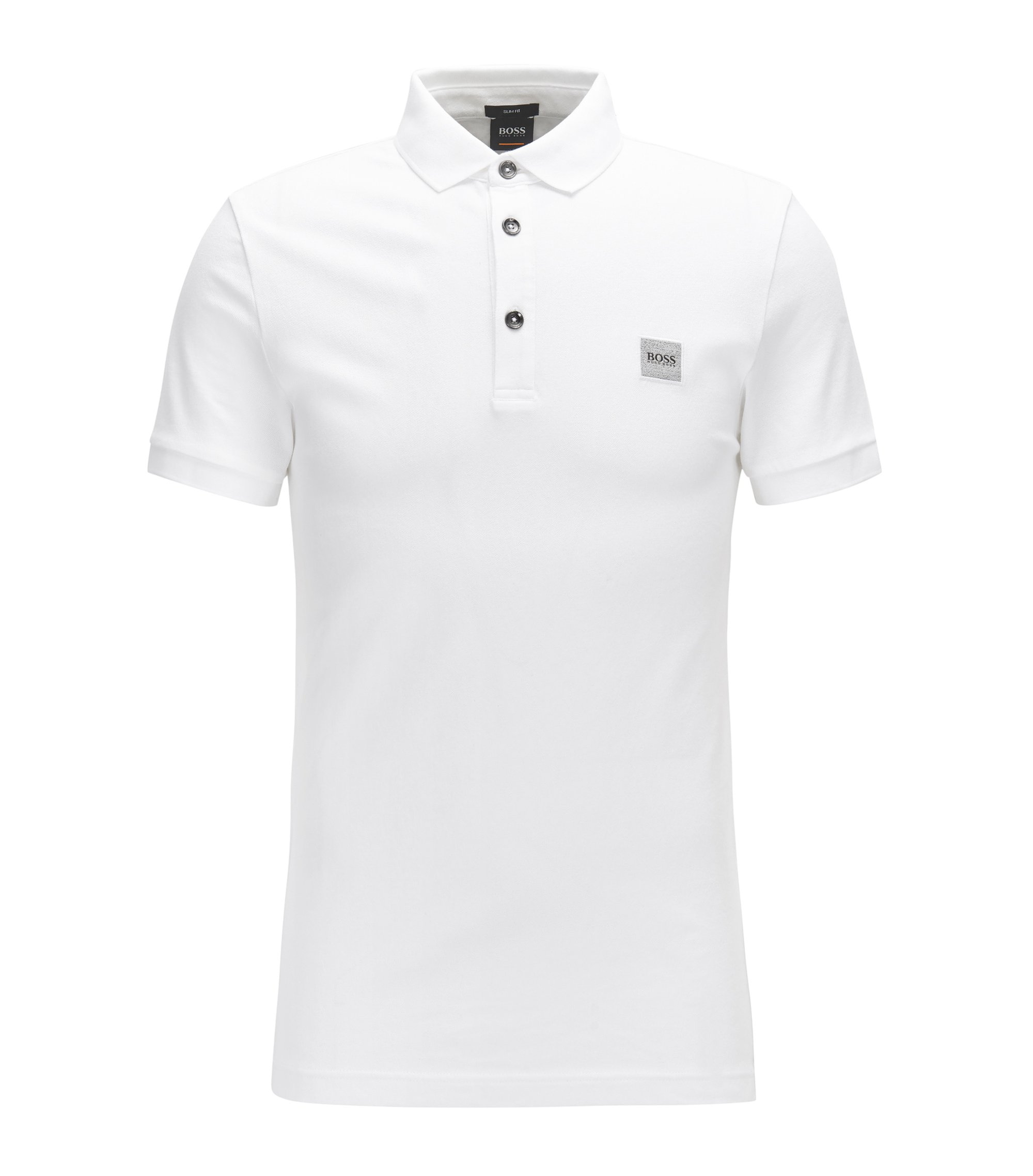 Slim-fit polo shirt in stretch cotton piqué, White