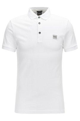 Slim-fit polo shirt in stretch cotton piqué, ...