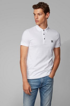 Slim-fit polo shirt in washed piqué with logo patch, White