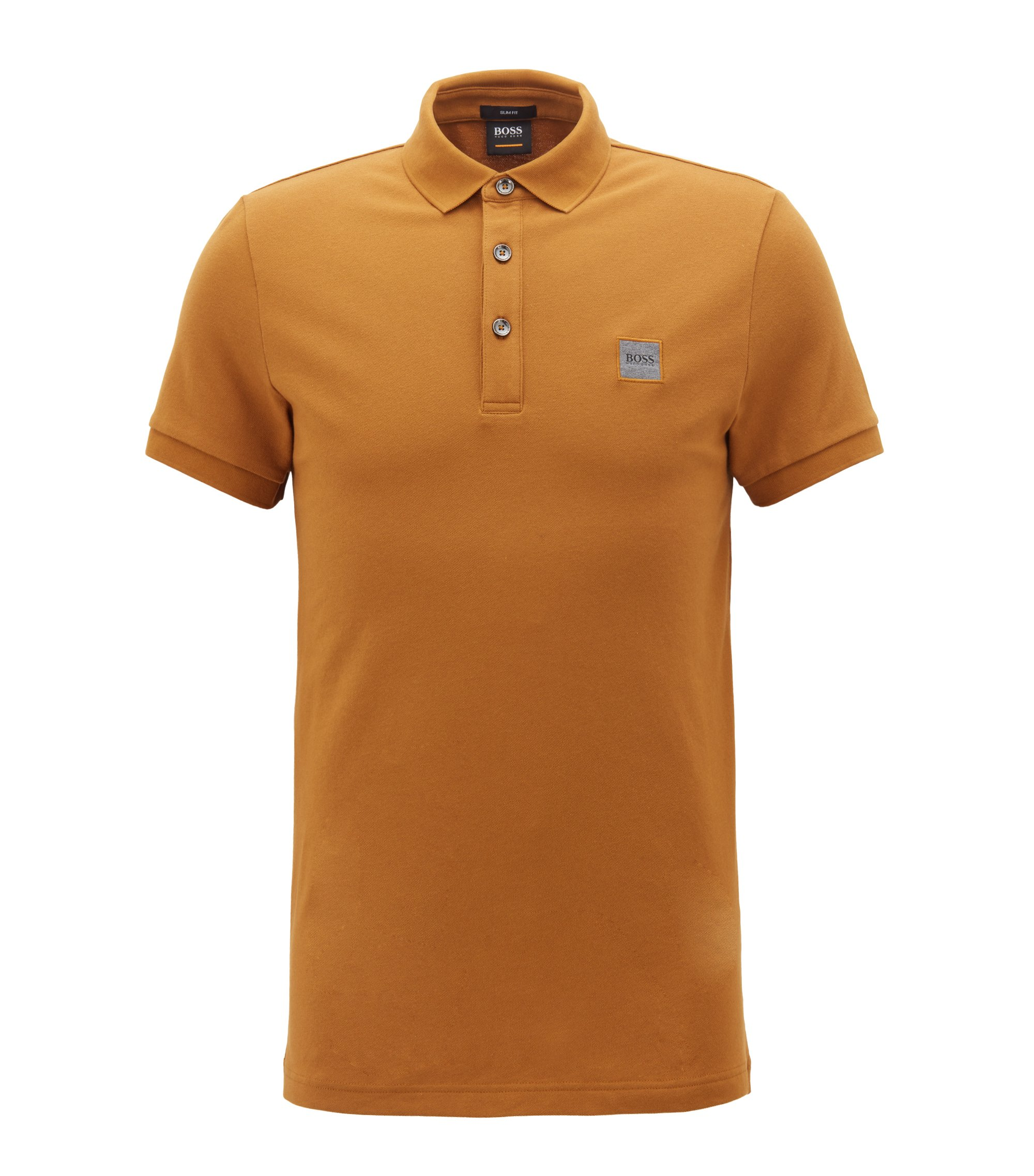 Polo Slim Fit en piqué de coton stretch, Marron